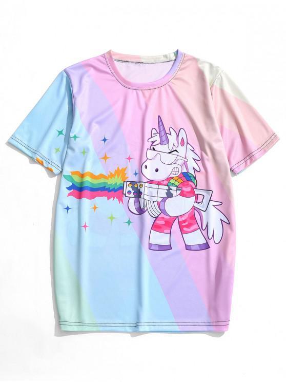 ladies Cartoon Unicorn Printed Casual T-shirt - MULTI L