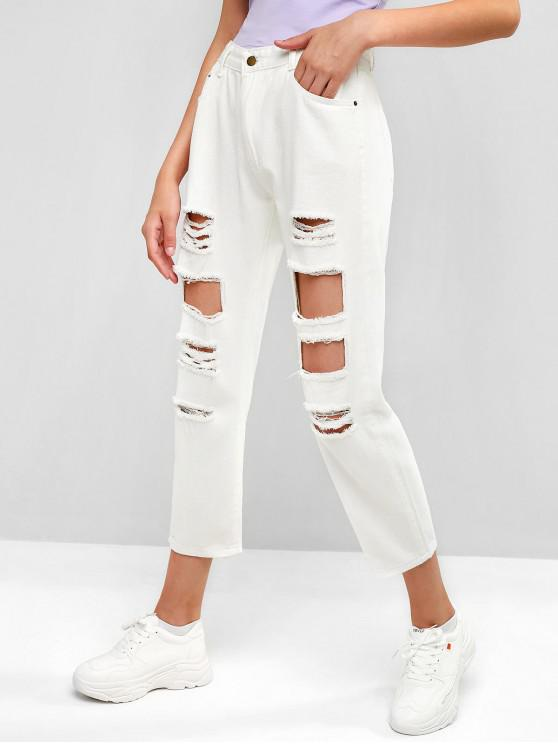 new Distressed Zipper Fly Pocket Jeans - WHITE L