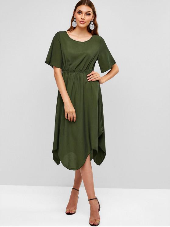 Sólido Casual Elastic cintura Midi Dress - Exército verde XL