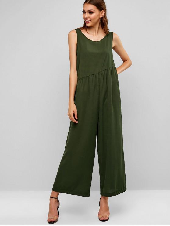 1a475d7fff 26% OFF  2019 Plain Open Back Wide Leg Jumpsuit In GREEN