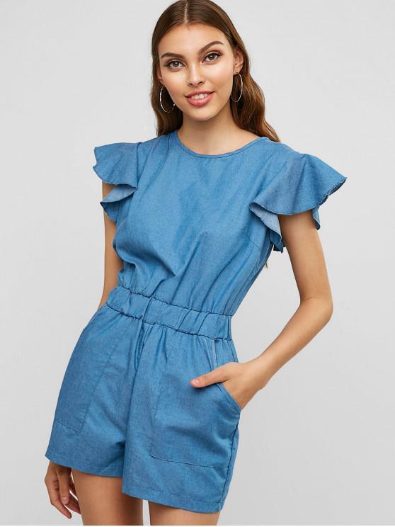 women Pockets Ruffles Chambray Romper - DENIM BLUE M