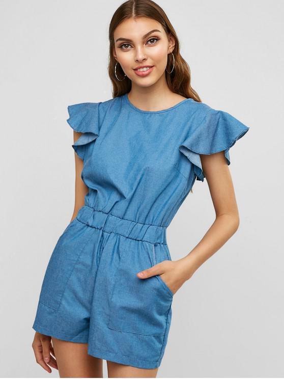 outfits Pockets Ruffles Chambray Romper - DENIM BLUE L