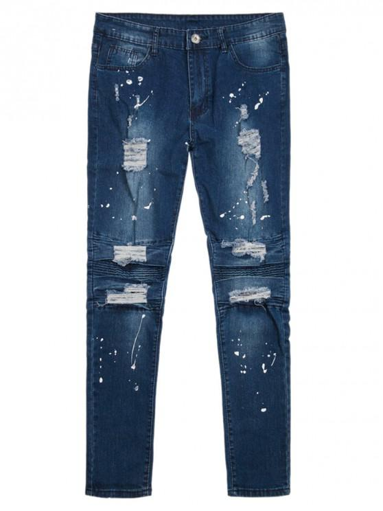 outfits Painting Splatter Ripped Denim Pants - BLUE 38