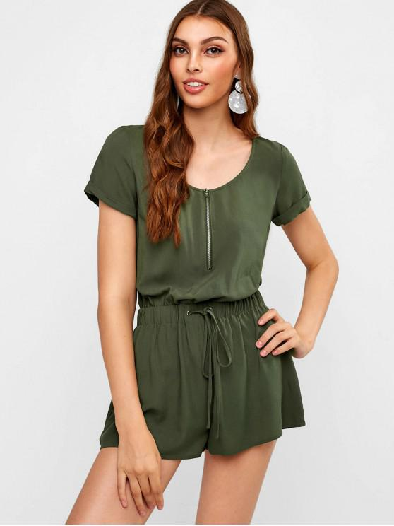 outfit ZAFUL Half Zip Drawstring Casual Romper - ARMY GREEN M