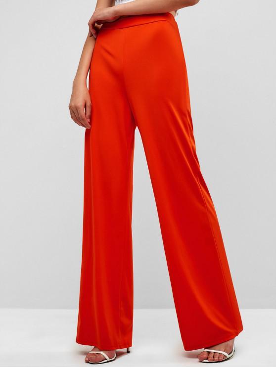 Simple Jambe Large Taille Haute À Pantalon nOkZ80PNXw