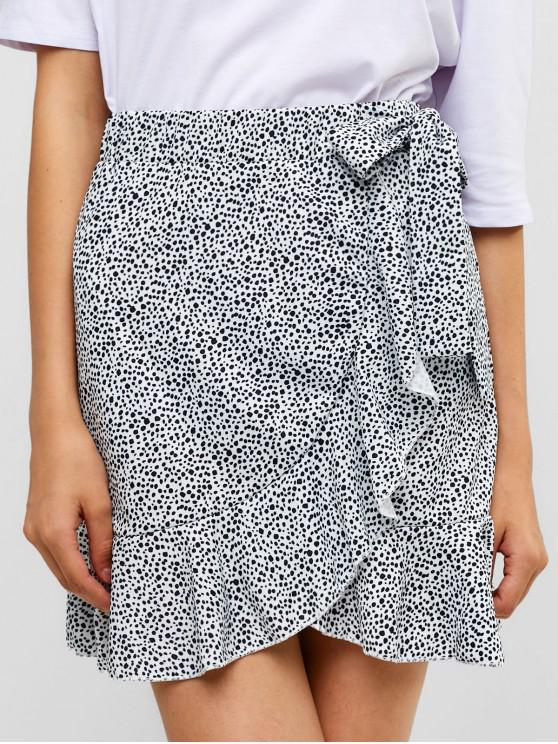 women Floral Ruffles Knotted Mini Skirt - WHITE XL