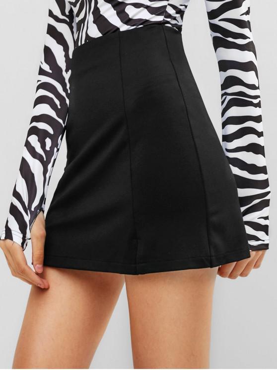 affordable Slit Mini A Line Skirt - BLACK L