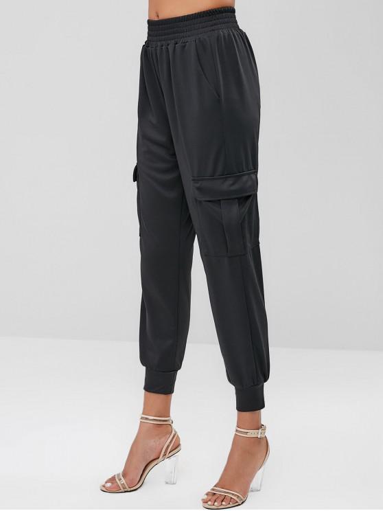 fashion Sports Flap Pockets High Waisted Pants - BLACK M