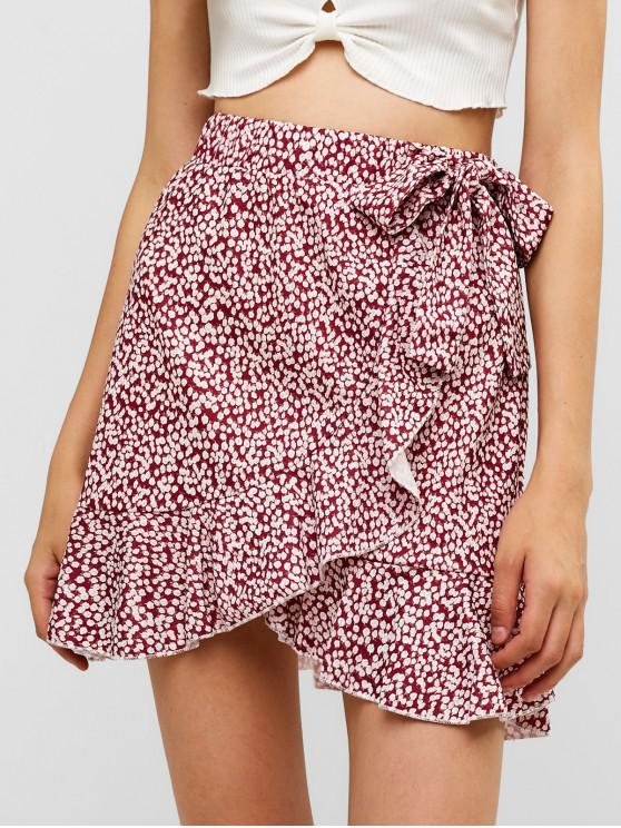 fashion Floral Ruffles Knotted Mini Skirt - RED S
