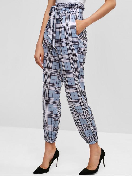 outfit Knotted Plaid Jogger Pants - LIGHT BLUE L