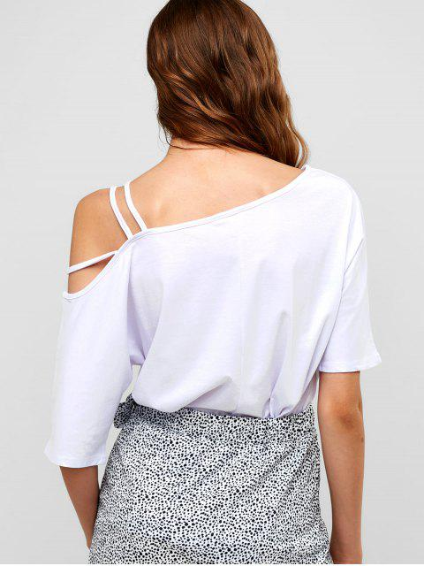 latest Strappy Cold Shoulder Tee - WHITE L Mobile