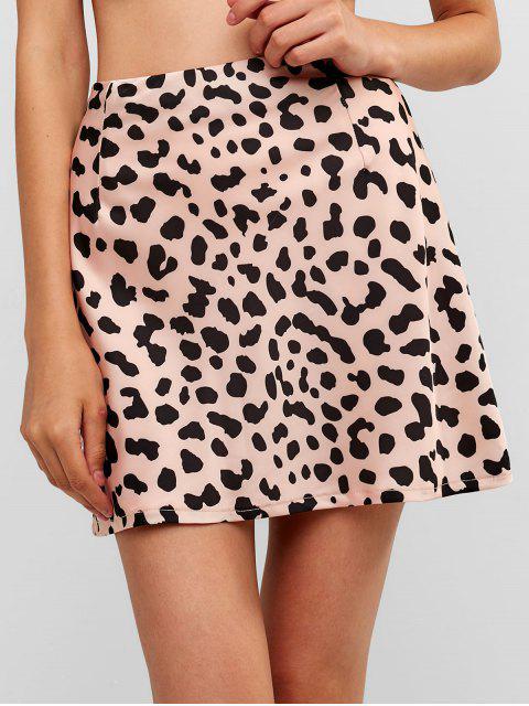 online Leopard Mini Zip Fly Skirt - LEOPARD S Mobile