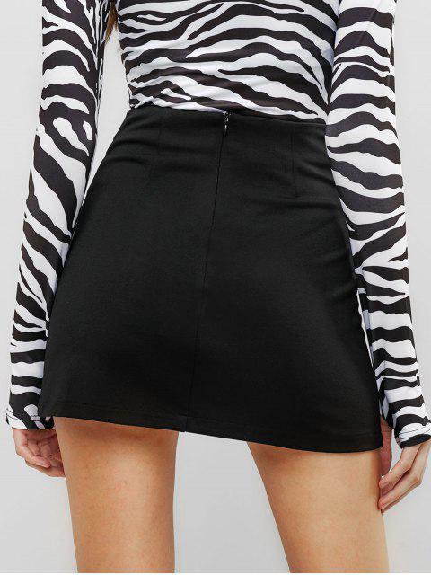 womens Slit Mini A Line Skirt - BLACK M Mobile