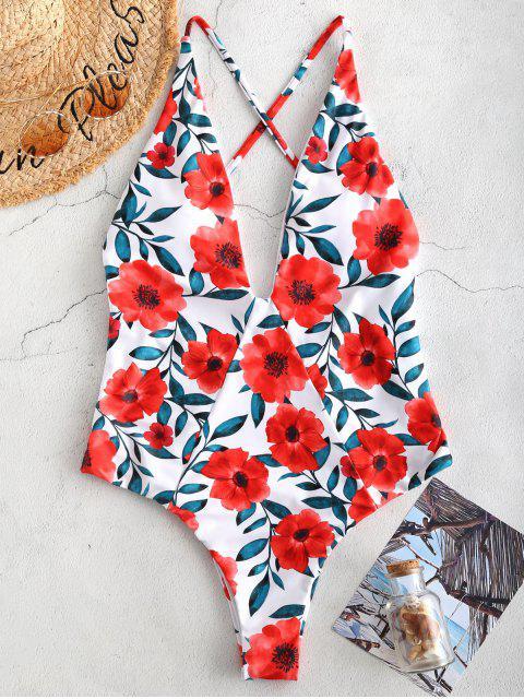 ZAFUL Floral Backless Lattice Swimsuit - Blanco XL Mobile