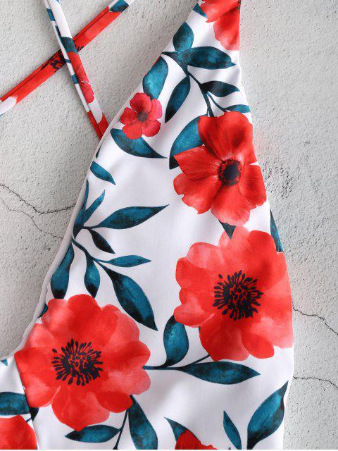 ZAFUL С цветочным принтом Открытая спина Купальник - Белый S Mobile