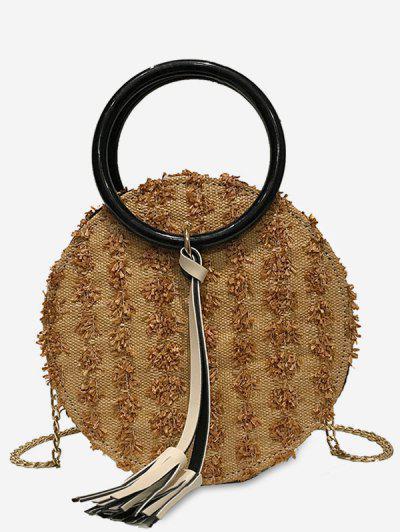 Image of 2Pcs Tassel Chain Straw Canteen Bag Set