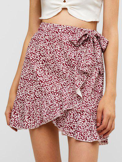 Leopard Speckled Floral Ruffles Knotted Mini Skirt - Red L