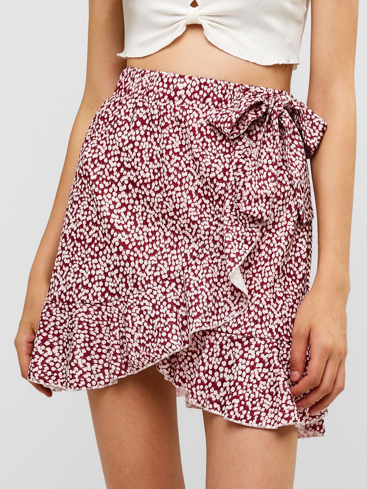 Floral Ruffles Knotted Mini Skirt thumbnail