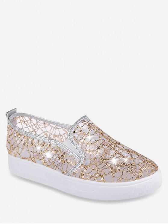 shops Mesh Sequin Slip On Flat Shoes - GOLD EU 38