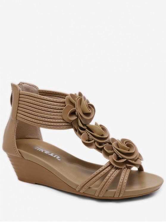 outfit Flower Ankle Wrap Wedge Sandals - APRICOT EU 38