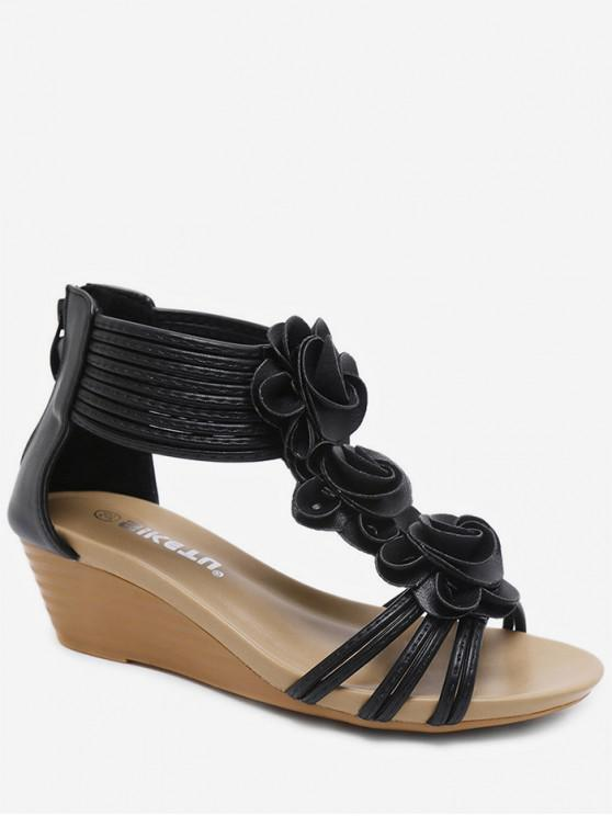 1c03b334d0a 30% OFF  2019 Flower Ankle Wrap Wedge Sandals In BLACK