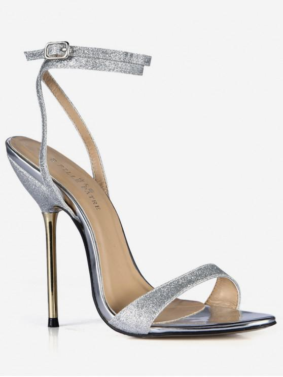 0cc5ce71a93 20% OFF  2019 Stylish Sparkly Stiletto Heel Sandals In SILVER