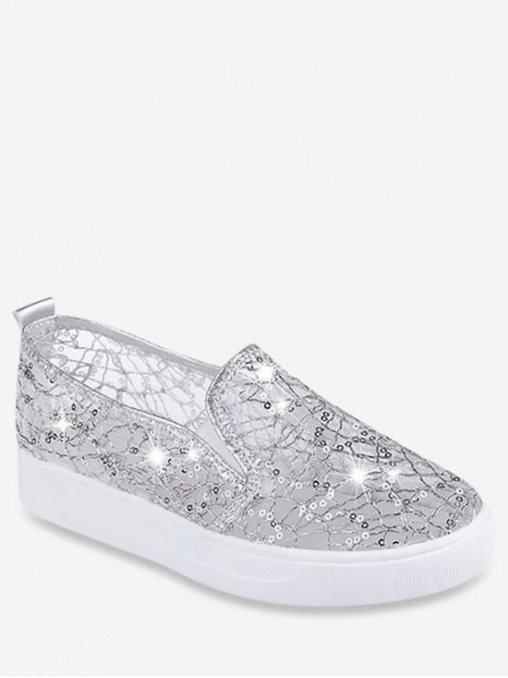 hot Mesh Sequin Slip On Flat Shoes - SILVER EU 36