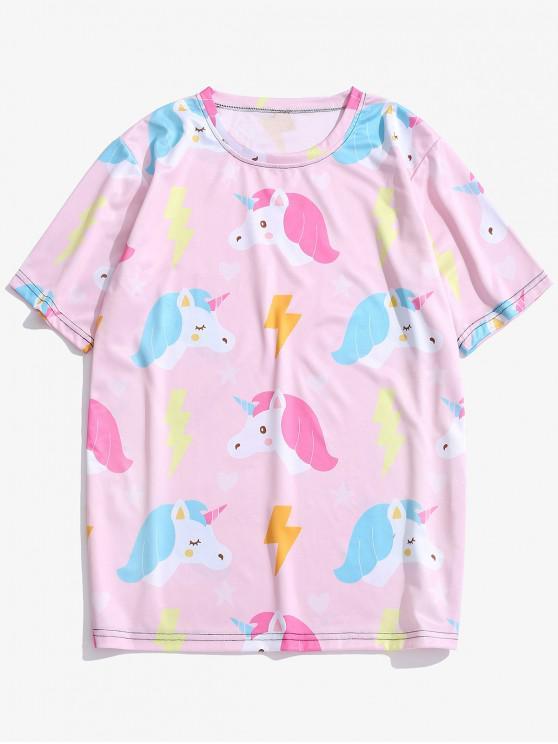 Kurze Ärmel Unicorn Stars Print T-Shirt - Rosa M