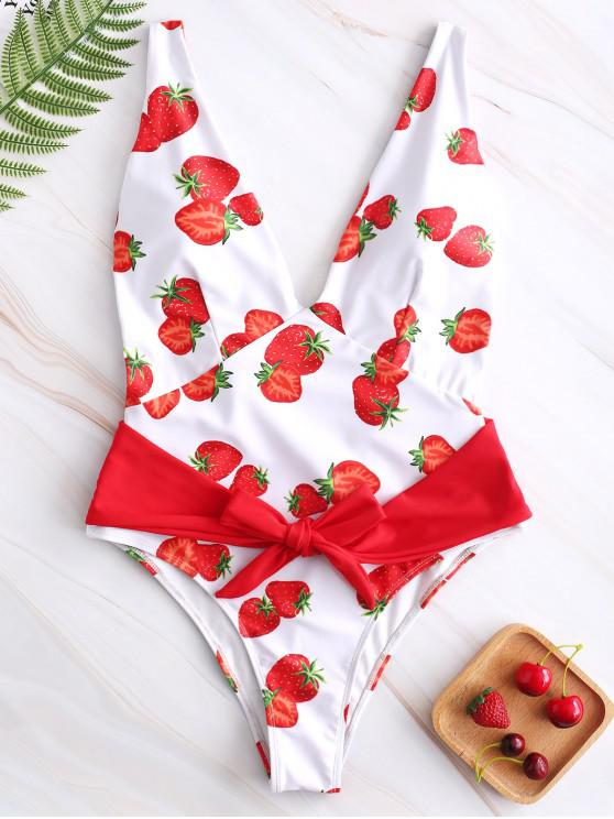affordable ZAFUL Strawberry Belted Plunging Swimsuit - WHITE M
