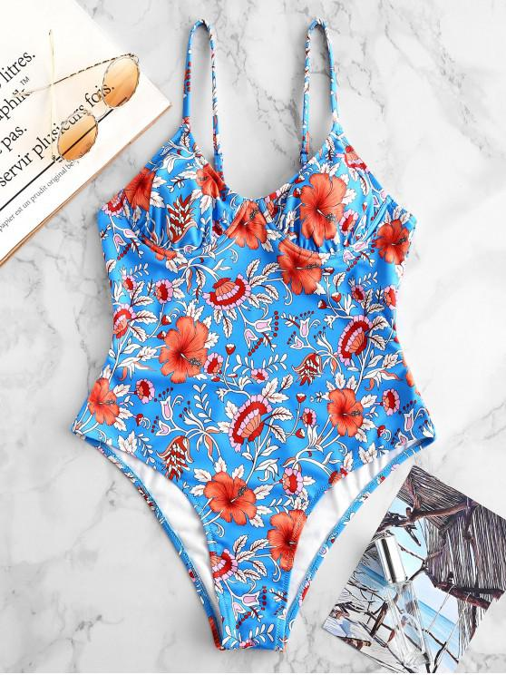 buy ZAFUL Floral Underwire Tie Back Swimsuit - MULTI-A L