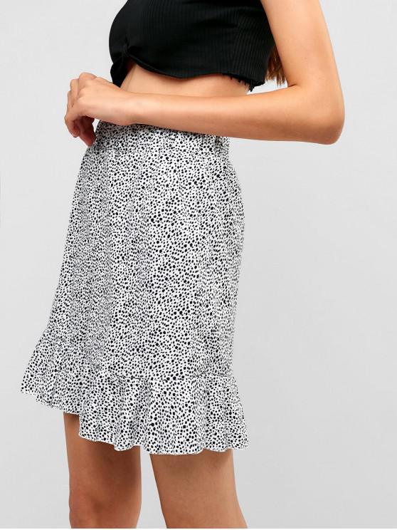 unique Printed Ruffles Mini Skirt - WHITE M