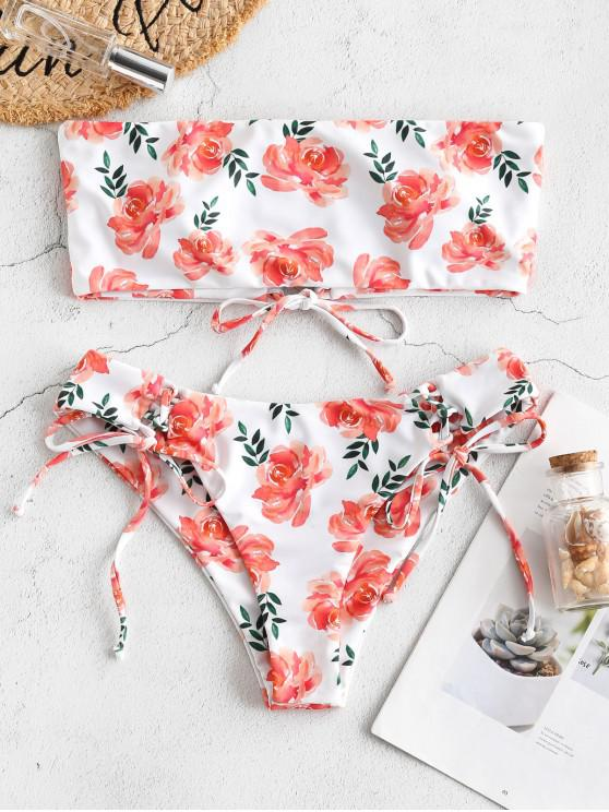 online ZAFUL Floral Print Lace Up Bandeau Bikini Set - WHITE M