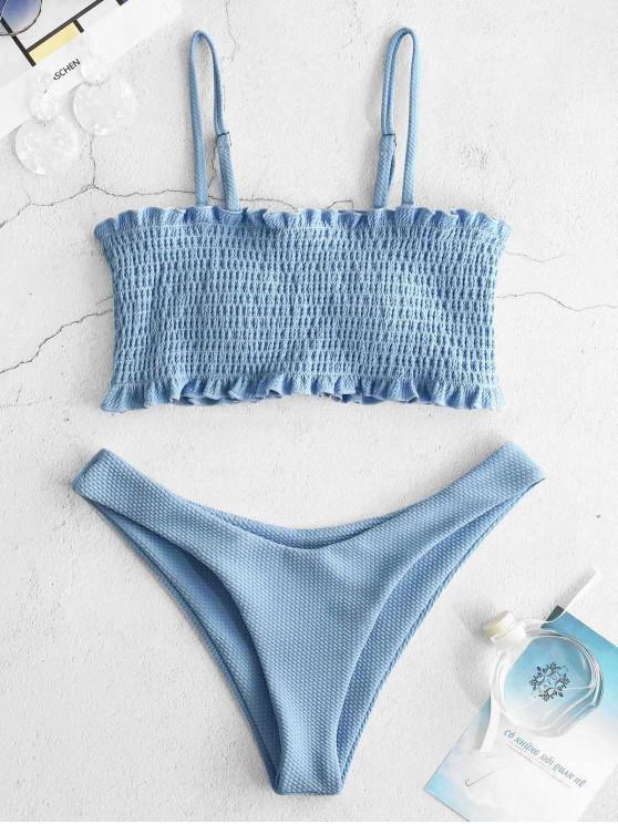 women's ZAFUL Textured Frilled Smocked Bikini Set - DAY SKY BLUE M