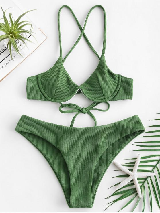 womens ZAFUL Ribbed Underwire Criss Cross Bikini Set - FERN GREEN S