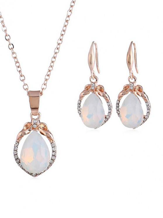new Rhinestone Artificial Opal Water Drop Jewelry Set - ROSE GOLD
