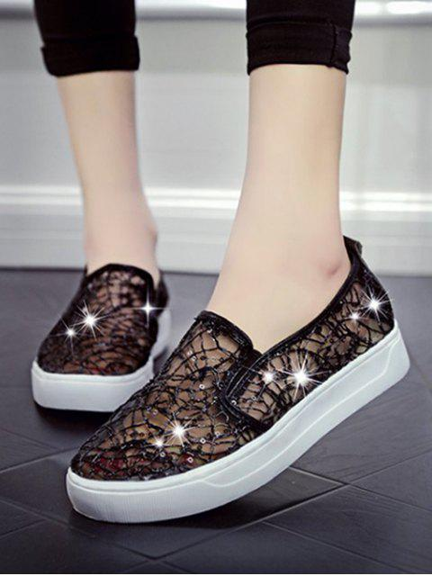 trendy Mesh Sequin Slip On Flat Shoes - BLACK EU 37 Mobile