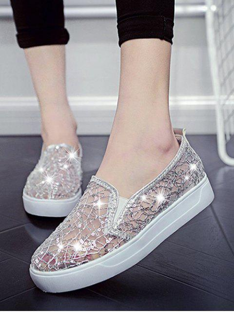 lady Mesh Sequin Slip On Flat Shoes - SILVER EU 35 Mobile