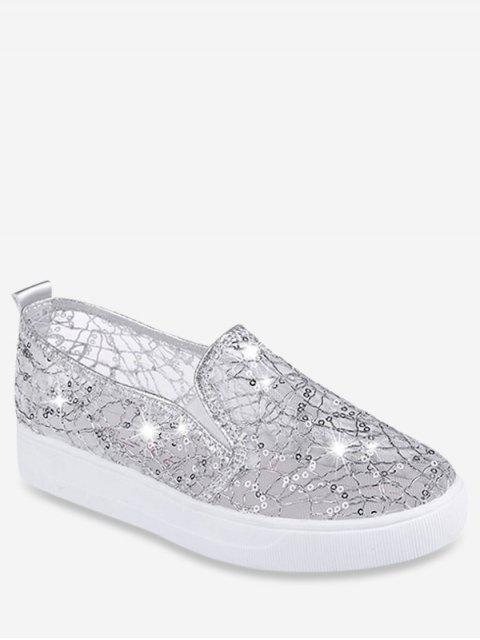 best Mesh Sequin Slip On Flat Shoes - SILVER EU 39 Mobile