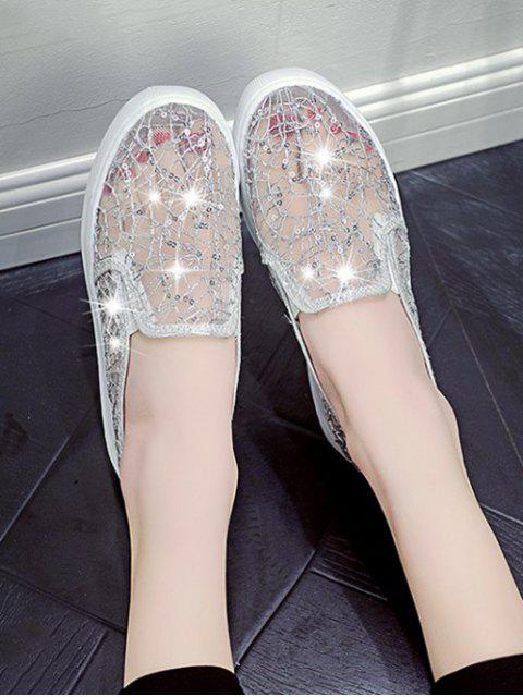 hot Mesh Sequin Slip On Flat Shoes - SILVER EU 36 Mobile
