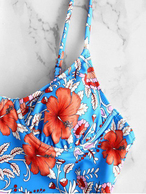 ZAFUL Floral Back Tie Back Swimsuit - Multi Colori-A S Mobile