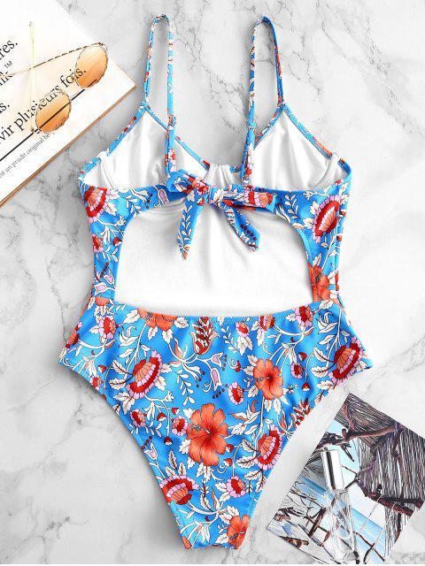 sale ZAFUL Floral Underwire Tie Back Swimsuit - MULTI-A XL Mobile