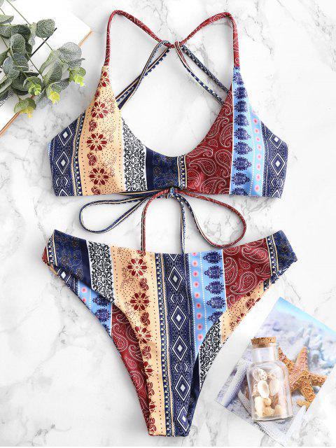 womens ZAFUL Floral Paisley Strappy Bikini Set - MULTI-A S Mobile