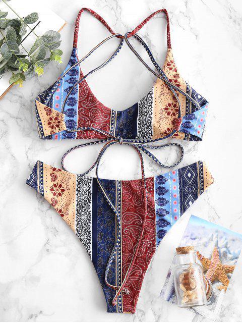 women ZAFUL Floral Paisley Strappy Bikini Set - MULTI-A M Mobile