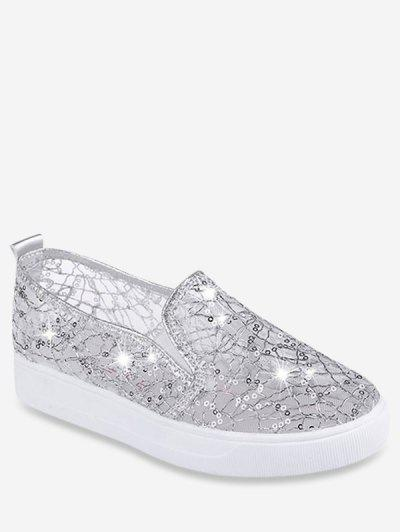 Mesh Sequin Slip On Flat Shoes - Silver Eu 37