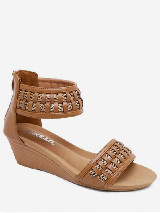 buy Bohemia Wedge Open Toe Sandals - DEEP BROWN EU 39