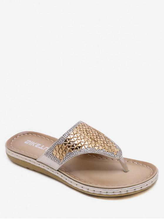 fancy Shiny Bohemia Style Flip Flop Beach Sandals - GOLD EU 40