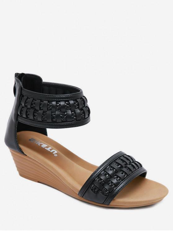 ladies Bohemia Wedge Open Toe Sandals - BLACK EU 36