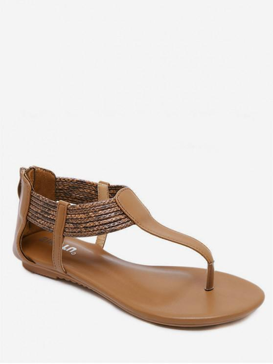 ef60607f0ab 21% OFF  2019 Bohemia Ankle Strap Thong Sandals In BROWN