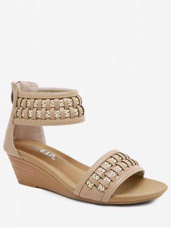 ladies Bohemia Wedge Open Toe Sandals - APRICOT EU 37