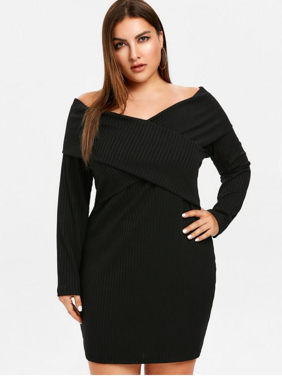 women ZAFUL Plus Size Off Shoulder Overlap Dress - BLACK 1X